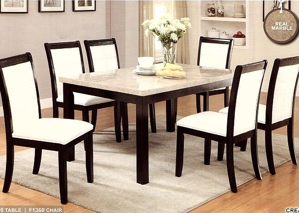 Seven PCS Casual Dining Set With The Real Marble Top Elegant Colors Cream  And Dark Brown With The Matching Faux Leather Chairs