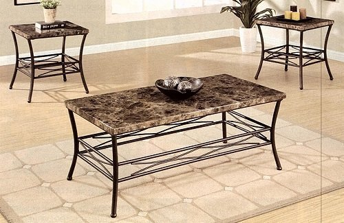 Faux Marble Top Coffee Table Set Of Three