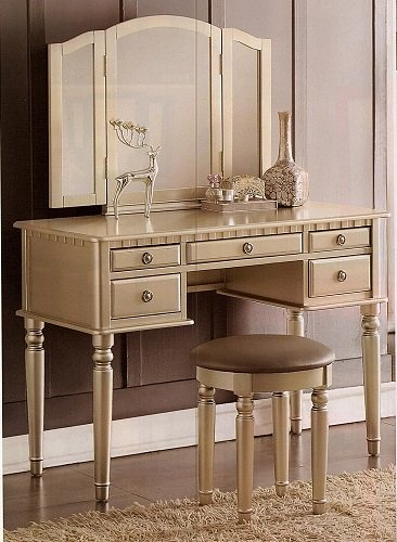 Vanity Set With 3 Mirrors Stool And Five Wide Drawers Nnr