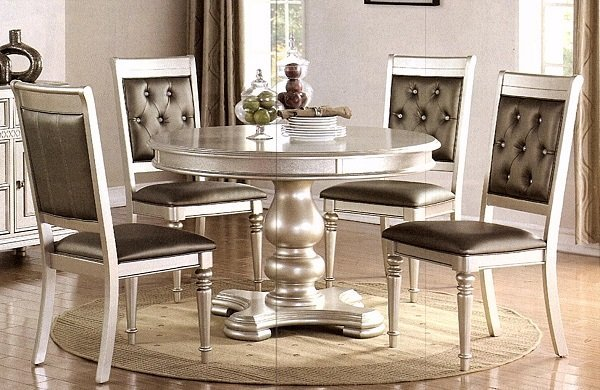 Incredible Round Silver Dining Table Set Of Five Caraccident5 Cool Chair Designs And Ideas Caraccident5Info